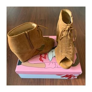 • Jeffrey Campbell Mary Roks Open Toe Wedge Bootie